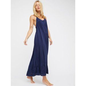 Free People Elaine embroidered maxi dress M Navy